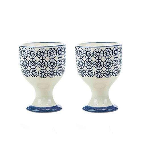 (Nicola Spring Patterned Egg Cups - Blue Flower Print Porcelain Breakfast Set - Pack of 2)