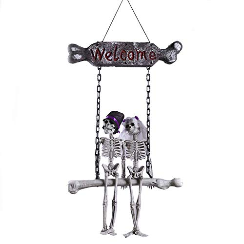 Festival Mask Halloween Skeleton Bride and Groom Welcome House Pendant Decoration Costume Mask ()