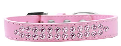Mirage Pet Products Two Row Light Pink Crystal Light Pink Dog Collar, Size 20 by Mirage Pet Products