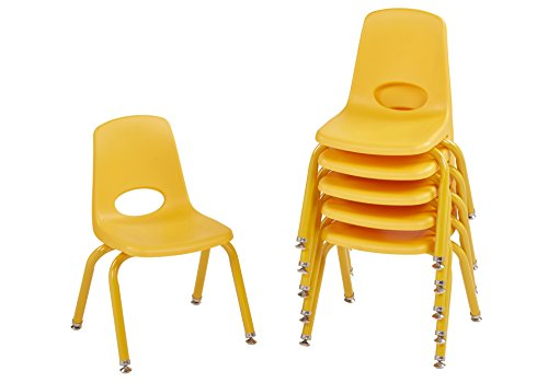 ECR4Kids 12'' School Stack Chair with Powder Coated Legs and Nylon Swivel Glides, Yellow (6-Pack) by ECR4Kids (Image #6)'