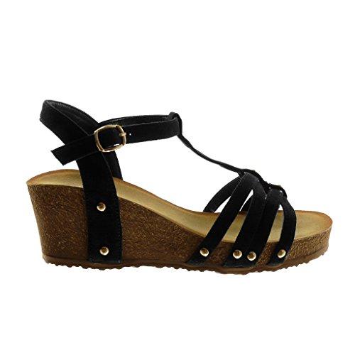 Angkorly Zapatillas Moda Sandalias Mules Correa Correa de Tobillo Plataforma Mujer Tachonado Multi-Correa Corcho Plataforma 6 cm Negro