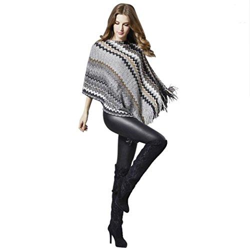 TiTCool Women Fashion Patchwork Autumn Sleeves Tassel Sweater Tied Sweater Jacket (Patchwork Tassel)