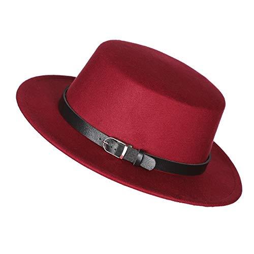 Prefe Women's Brim Fedora Wool Flat Top Hat Church Derby Belt Cap (Wine Red)