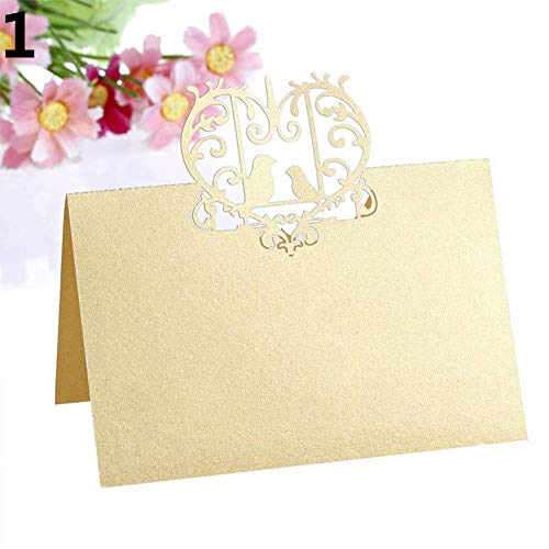Tcplyn Tcplyn Premium Quality 50 Pcs Heart Love Birds Wedding Favor Table Name Place Cards Party Decoration - Golden