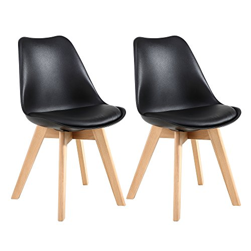 LSSBOUGHT Set of 2 Eames-Style Soft Padded Seat Dining Chairs with Solid Wooden Legs (Black) Review