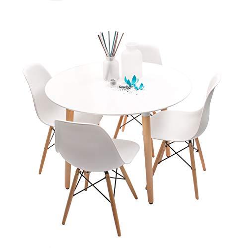 Homely - Conjunto de Comedor NORDIK-MAX Mesa Redonda de 100 cm lacada Blanca y 4 sillas - Blanco