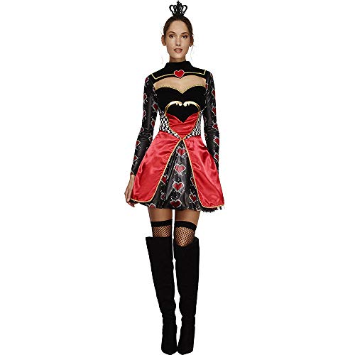 LVLUOYE Cosplay Costume, Alice in Wonderland Red Heart Poker Queen Costume, Maid Costume Witch,S