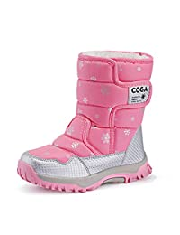JACKSHIBO Girls Waterproof Winter Snow Boots Outdoor Fashion Warm Fur Boots with Velcro(Little Kid/Big Kid)