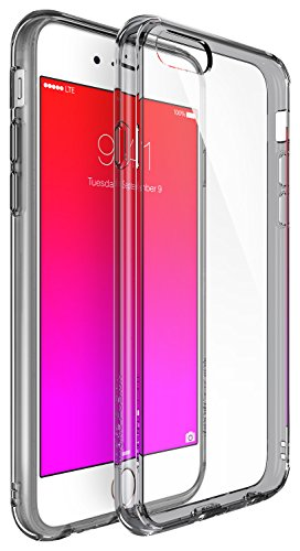 Hybrid Fusion Protector (iPhone 6S / 6 Case, Ringke [Fusion] Clear PC Back & TPU bumper [Drop Protection] Attached Dust Caps with Screen Protector For Apple iPhone 6 / 6S - Smoke Black)