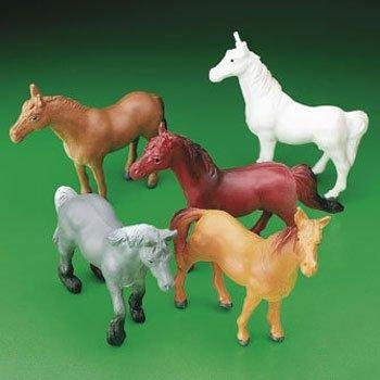 Horse Figures, Plastic Toy Horses, Set of 24 for Cupcake Toppers, Party Favors (Toppers Cake Plastic)
