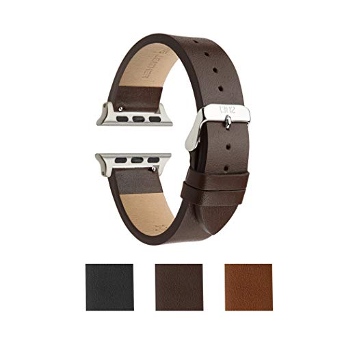 Compatible Watch Band 42mm, Genuine Leather Band, Replacement for iWatch, Stainless Steel, Compatible Watch Series 4, Series 3, Series 2 Series 1 Sport (Chocolate Textured-1)