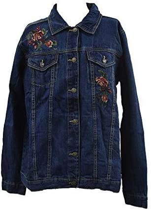 The Skyline Collection Women's Embroidery Denim Jacket in Blue - XL