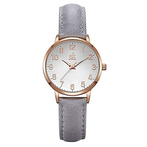 SK SHENGKE Ladies Watches Round Women Watches on Sale Leather Band Small Quartz Analog Fashion Watches (9005-GY)