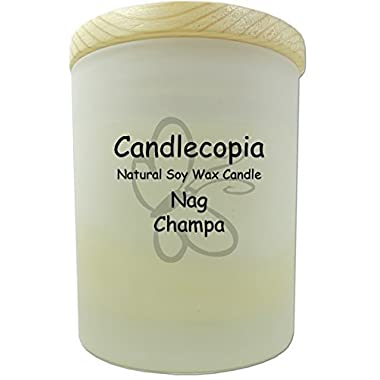 Candlecopia Nag Champa Scented Soy Candle - Woody notes similar to patchouli, with touches of powder, musk, amber, and vanilla - 80+ Hours Burn Time in 14 ounce Frosted Jar with Wooden Lid