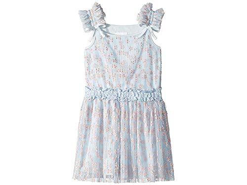 BCBG Girls Baby Girl's Flocked Mesh Dress (Toddler/Little Kids) Soft Blue 4 US Little Kid
