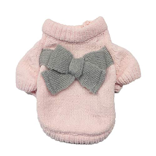 Letdown Pet Puppy Autumn and Winter Clothes Solid Color Bow-Knot Sweater Cute Sweater (XS, Pink)