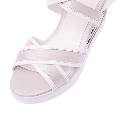 Amoonyfashion Womens Assorted Colors Blend Materials Hoge Hakken Open-teen Gesp Sandalen Grijs