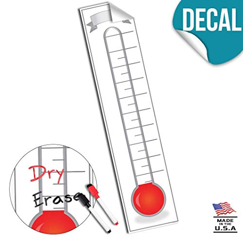 Fundraising Thermometer Goal Setting Chart - Dry Erase Reusable Fundraiser Tracker for Goals Adhesive Decal - 48x11 ()