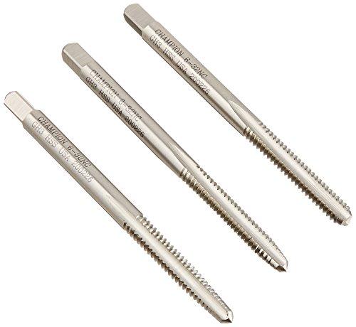 Champion 308-6-32-S HSS Hand Tap Set Taper-Bottom-Plug, Ground Thread  H3  Limit, 3-Piece (Hss Tap Set)