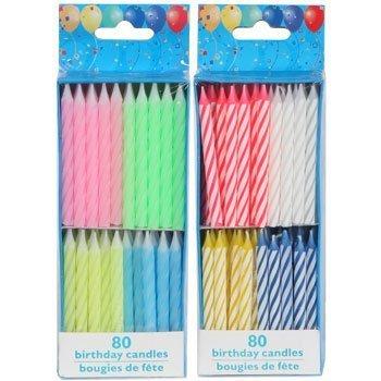 Velas de cumpleaños, 80 Count espiral Brights + 80 Count ...