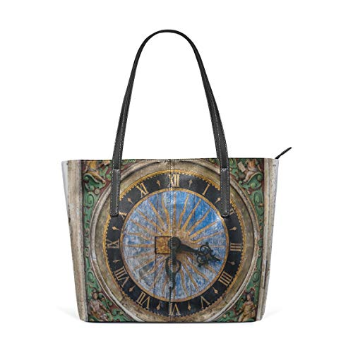 (Laptop Tote Bag Old Clock In The Old Town Large Printed Shoulder Bags Handbag Pu Leather Top Handle Satchel Purse Lightweight Work Tote Bag For Women Girls)
