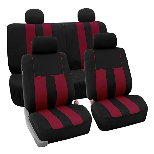 FH GROUP FH-FB036114 Striking Striped Full Set Car Seat Covers (Airbag & Split Ready) Burgundy / Black Color- Fit Most Car, Truck, Suv, or Van
