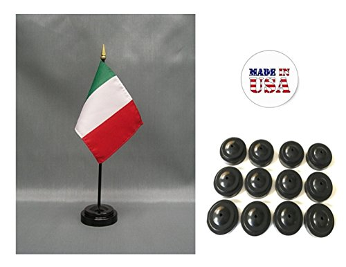 Made in the USA!! Box of 12 Italy 4''x6'' Miniature Desk & Table Flags Includes 12 Flag Stands & 12 Italian Small Mini Stick Flags by World Flags Direct