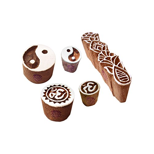 (Ornate Motif Yin Yang and Om Wood Stamps for Printing (Set of 5))