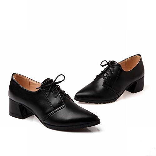 Hymne Casual Dames Sweet Lace-up Punt-teen Mode Dikke Mid-heel Oxfords Schoenen Zwart