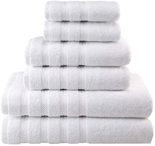 American Soft Linen Premium, Luxury Hotel & Spa Quality, 6 Piece Kitchen & Bathroom Turkish Towel Set, Cotton for Maximum Softness & Absorbency, [Worth $72.95] White ()