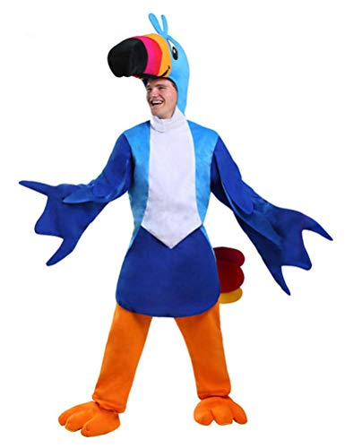 COSKING Toucan Costume Men, Adult Deluxe Halloween Bird Cosplay Outfit (One Average Size) -