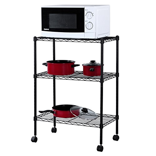 SONGMICS 3 Tier Wire Shelves Utility Rolling ...