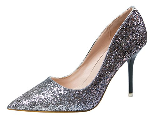 T&Mates Womens Fashion Sexy Pointed Toe Slip-on Glitter Sequins Stiletto Heel Evening Dress Party Pumps (5.5 B(M) US,Blue) (Surf And Turf Delivery)