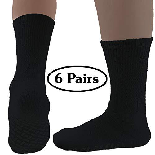 (Diabetic Socks Womens Non-slip Grip Cotton 6-Pack Crew Black By DEBRA WEITZNER)