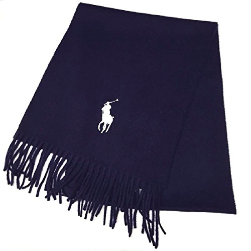 Men's Lambs Wool Solid Color Scarf by Polo Ralph Lauren, Made In Italy (Navy Blue) (Navy - Polo Lauren Ralph Colors