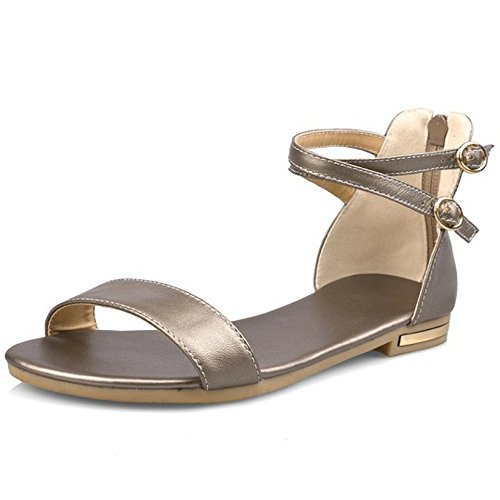 Leather Champagne Flat Women's Heels LongFengMa Sandals Ankle Strap q0T55df