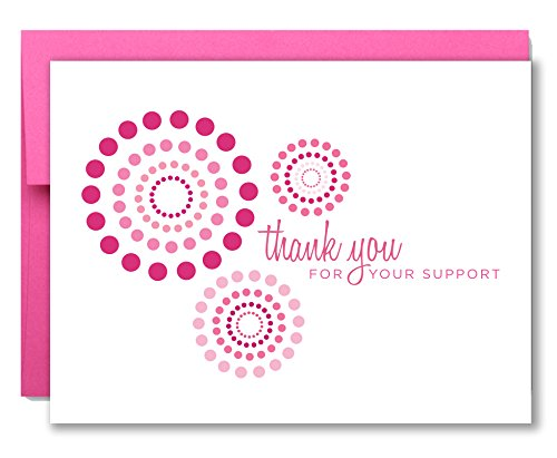 20 Breast Cancer Support, Modern Pink Ribbon Thank You Cards - for Charity Events, Runs, Walks and 3-Day - Maddie by Two Poodle Press