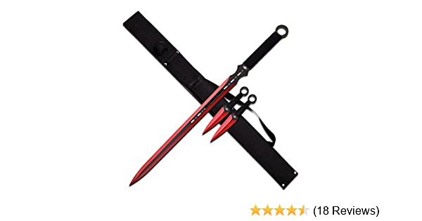 Snake Eye Full Tang Tactical Blade Katana/Ninja Sword/Machete/Throwing Knife, 27-Inch (Red)