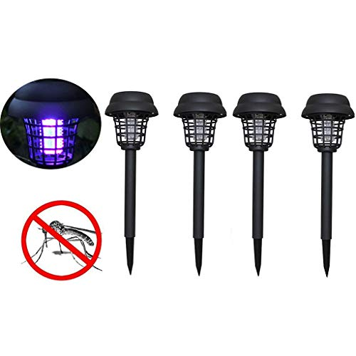 (4PC Mosquito Light,Fheaven Outdoor Garden Solar Powered LED Light Mosquito Pest Bug Zapper Insect Killer Lamp )