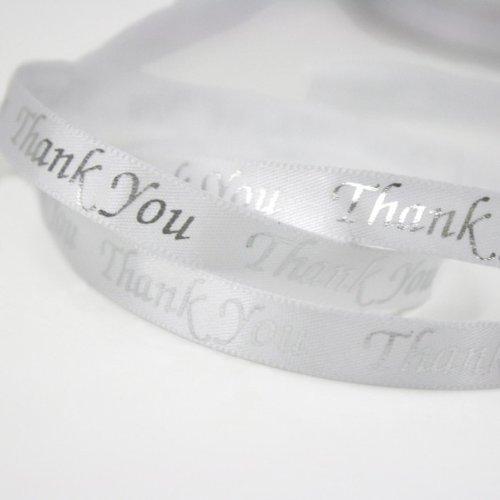 Printed Thank You Satin Ribbon Pkg of 4 - White/silver