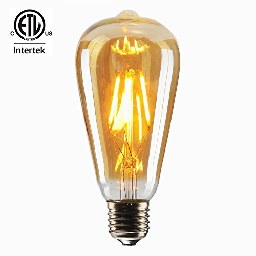 - CMYK Vintage Edison LED Bulb, Dimmable 4W ST64 Antique LED Bulb Squirrel Cage Filament Light For Decorate Home, E26, 2200K, Clear Glass, Warm White