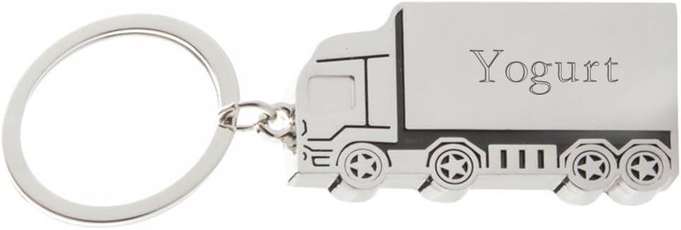 Shopzeus Llavero de Metal de camión con Nombre Grabado: Yogurt (Nombre de Pila/Apellido/Apodo)