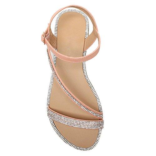 Coral Sandals Flat Women Size Rhinestone Ajvani Trim Pink qHSYIxw
