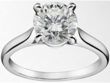 18k White Gold Agi Certified Cartier Style Solitaire Diamond