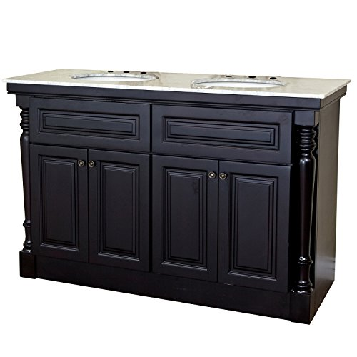 Bellaterra Home 605522A 55-Inch Double Sink Vanity, Dark Mahogany (Carved Double Sink Vanity)