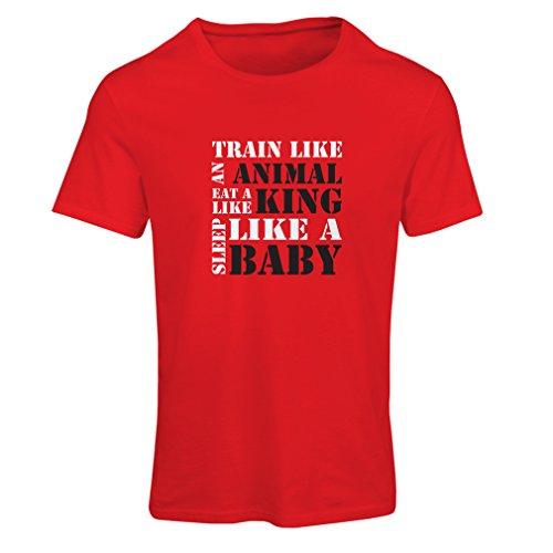 Camiseta Mujer Tren Duro - Citas de motivación de la Aptitud, Plan de Entrenamiento Diario (XX-Large Rojo Blanco)