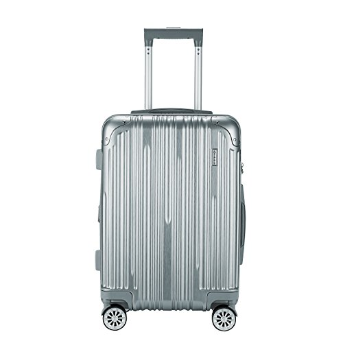 Travelers Club Luggage Nurmi 20 inch Abs+Pc Rolling Carry-on with 8-Wheel Double Spinner, Silver