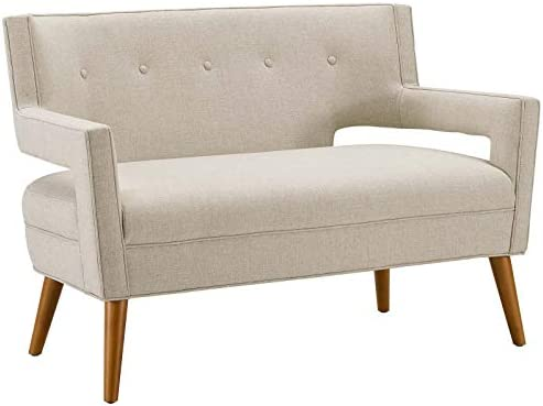 Modway Sheer Upholstered Fabric Mid-Century Modern Loveseat