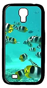 Brian114 Samsung Galaxy S4 Case, S4 Case - Black Hard PC Cases for Samsung Galaxy S4 I9500 Coral Reef Fish 2 Ultra Fit for Samsung Galaxy S4 I9500