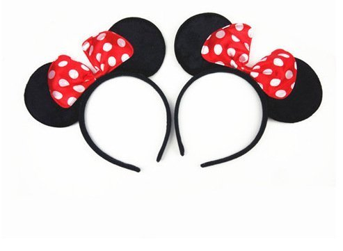 MEKBOK Minnie Mouse Ears Headband Children Birthday Party Supplies Girls Mom Baby Hair Accessories Party Decoration Gift Baby Shower Valentine's Day Halloween Christmas Set of 2